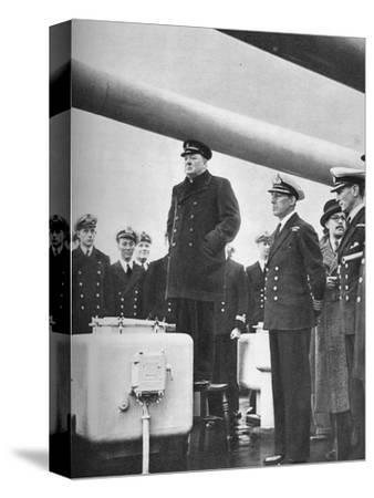 'Addressing the Crew of H.M.S. Exeter on their return from the sinking of the Graf Spee at the b-Unknown-Stretched Canvas Print