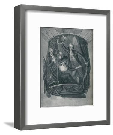''The Ascent of Vincent Lunardi, accompanied by Mrs. Sage and Mr. Biggin', 1785, (1910)-Unknown-Framed Giclee Print