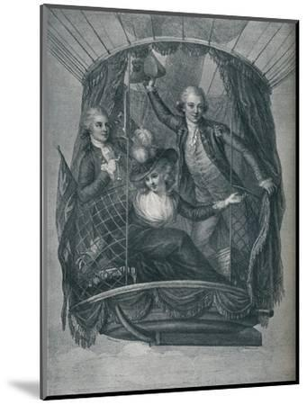 ''The Ascent of Vincent Lunardi, accompanied by Mrs. Sage and Mr. Biggin', 1785, (1910)-Unknown-Mounted Giclee Print