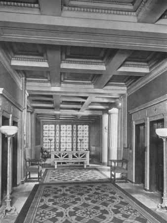 Elevator lobby, first floor, the Fraternity Clubs Building, New York City, 1924-Unknown-Framed Photographic Print