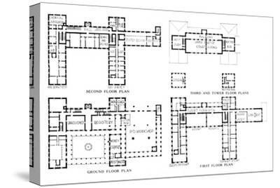 Floor plans, Federal Building, Honolulu, Hawaii, 1924-Unknown-Stretched Canvas Print