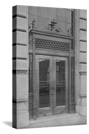 Detail of side entrance door, Phoenix National Bank, 1924-Unknown-Stretched Canvas Print