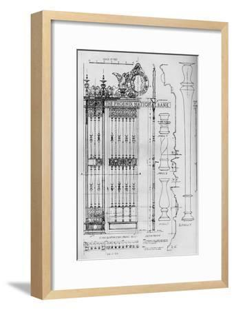 Detail drawing of the main entrance door grille, Phoenix National Bank, 1924-Unknown-Framed Giclee Print