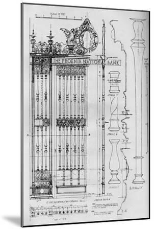 Detail drawing of the main entrance door grille, Phoenix National Bank, 1924-Unknown-Mounted Giclee Print