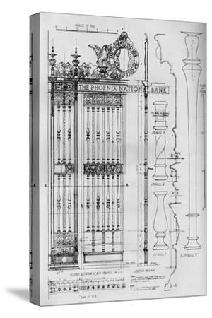 Detail drawing of the main entrance door grille, Phoenix National Bank, 1924-Unknown-Stretched Canvas Print