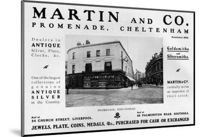 'Martin and Co., Promenade, Cheltenham', 1909-Unknown-Mounted Photographic Print