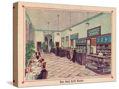 'Bar and Grill Room - Hotel Florida - Havana - Cuba', c1910-Unknown-Stretched Canvas Print