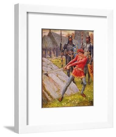 'Arthur Draws the Sword from the Stone', 1911-Walter Crane-Framed Giclee Print