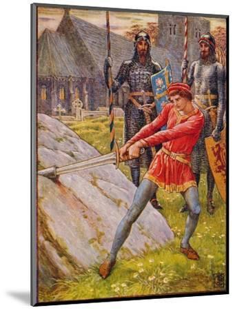 'Arthur Draws the Sword from the Stone', 1911-Walter Crane-Mounted Giclee Print