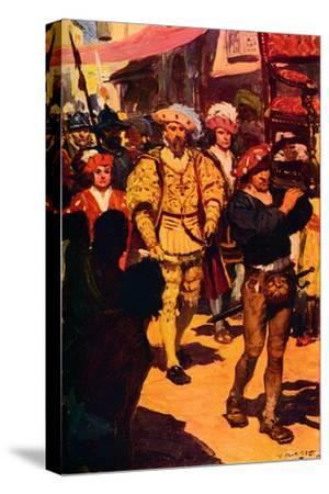 'Vasco Da Gama Visiting the King of Calicut', 1498 (c1912)-Unknown-Stretched Canvas Print