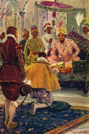 'Hawkins Presenting King James's Letter to the Great Mogul', 1608 (c1912)-Unknown-Framed Giclee Print