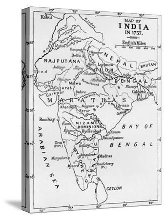 'Map of India in 1757', (c1912)-Unknown-Stretched Canvas Print
