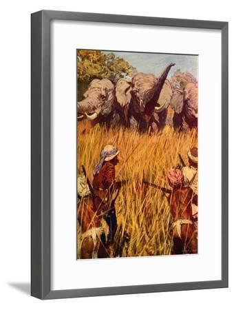 'Elephants in Chase', c1850 (c1912)-Unknown-Framed Giclee Print