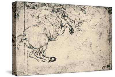 'Fight Between a Horseman and a Griffin', c1480 (1945)-Leonardo da Vinci-Stretched Canvas Print