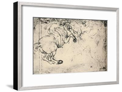 'Fight Between a Horseman and a Griffin', c1480 (1945)-Leonardo da Vinci-Framed Giclee Print