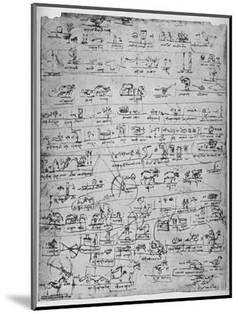 'Sheet of Pictographs', c1480 (1945)-Leonardo da Vinci-Mounted Giclee Print