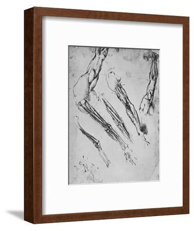 'Six Studies of an Arm Showing in Three Cases the Bones', c1480 (1945)-Leonardo da Vinci-Framed Giclee Print