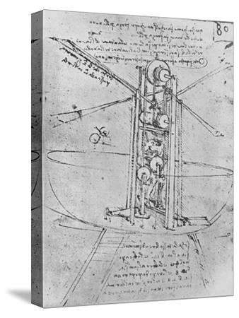 'Drawing of a Flying Machine with a Man Operating It', c1480 (1945)-Leonardo da Vinci-Stretched Canvas Print