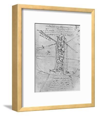 'Drawing of a Flying Machine with a Man Operating It', c1480 (1945)-Leonardo da Vinci-Framed Giclee Print