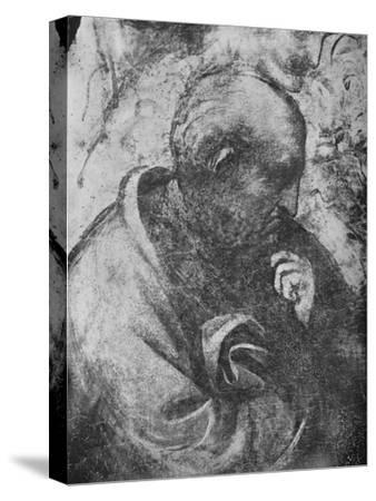 'Adoration of the Magi - Head of 'philosopher' on the left', c1481 (1945)-Leonardo da Vinci-Stretched Canvas Print