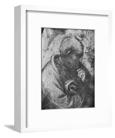 'Adoration of the Magi - Head of 'philosopher' on the left', c1481 (1945)-Leonardo da Vinci-Framed Giclee Print