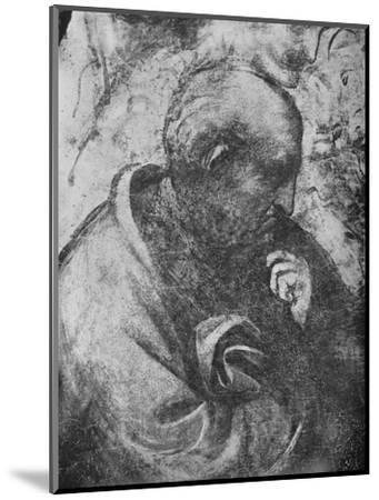 'Adoration of the Magi - Head of 'philosopher' on the left', c1481 (1945)-Leonardo da Vinci-Mounted Giclee Print