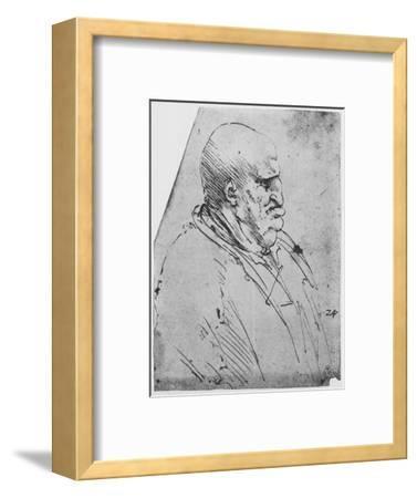 'A Grotesque Profile of a Man to the Right', c1480 (1945)-Leonardo da Vinci-Framed Giclee Print