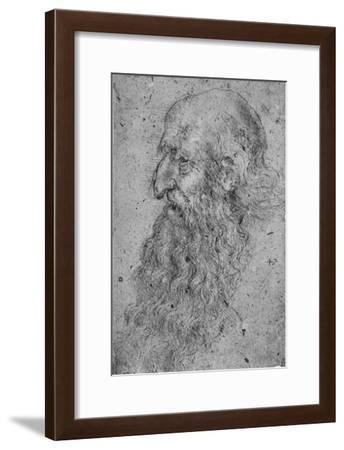 'Profile of an Old, Bearded Man to the Left', c1480 (1945)-Leonardo da Vinci-Framed Giclee Print