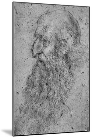 'Profile of an Old, Bearded Man to the Left', c1480 (1945)-Leonardo da Vinci-Mounted Giclee Print