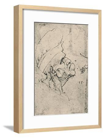 'Grotesque Profile of a Man Wearing a Hat to the Right', c1480 (1945)-Leonardo da Vinci-Framed Giclee Print