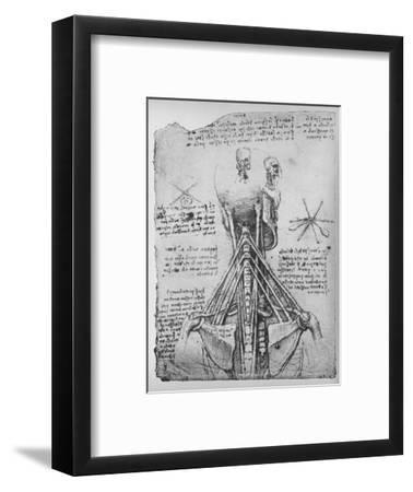 'Study of the Back View of a Skeleton, Showing the Tendons of the Neck', c1480 (1945)-Leonardo da Vinci-Framed Giclee Print
