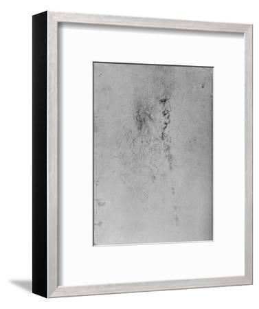 'Profile to the Right of an Old Man', c1480 (1945)-Leonardo da Vinci-Framed Giclee Print