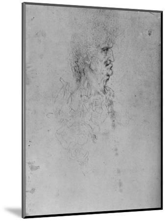 'Profile to the Right of an Old Man', c1480 (1945)-Leonardo da Vinci-Mounted Giclee Print