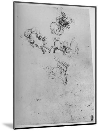 'Horses and Horsemen in Combat', c1480 (1945)-Leonardo da Vinci-Mounted Giclee Print