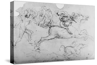 'Galloping Horseman and Other Figures', c1480 (1945)-Leonardo da Vinci-Stretched Canvas Print