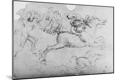 'Galloping Horseman and Other Figures', c1480 (1945)-Leonardo da Vinci-Mounted Giclee Print