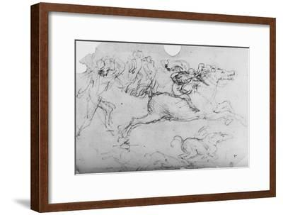 'Galloping Horseman and Other Figures', c1480 (1945)-Leonardo da Vinci-Framed Giclee Print