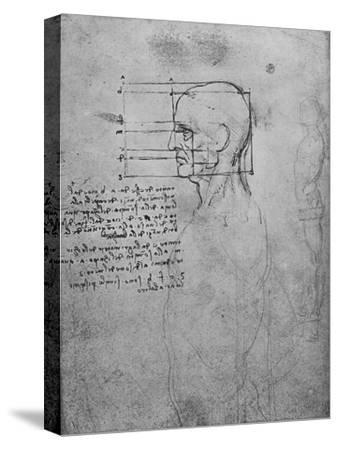 'Study of a Man's Nude Torso, the Head Squared for Proportion', c1480 (1945)-Leonardo da Vinci-Stretched Canvas Print
