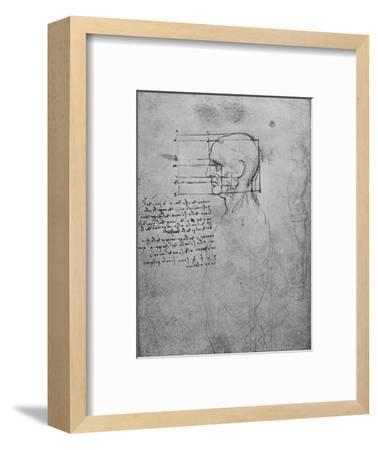'Study of a Man's Nude Torso, the Head Squared for Proportion', c1480 (1945)-Leonardo da Vinci-Framed Giclee Print