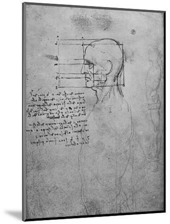 'Study of a Man's Nude Torso, the Head Squared for Proportion', c1480 (1945)-Leonardo da Vinci-Mounted Giclee Print