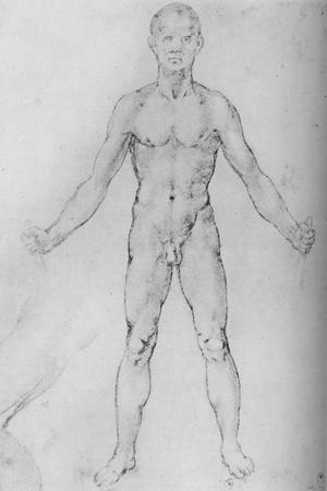 'Nude Man With Arms Stretched Out, Seen from the Front', c1480 (1945)-Leonardo da Vinci-Framed Giclee Print