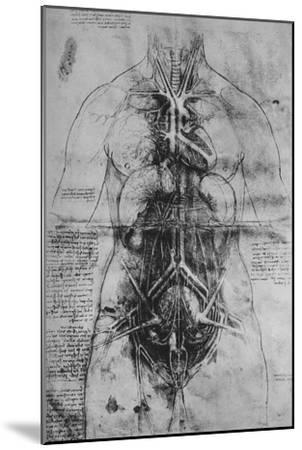 'Dissection of the Principal Organs of a Woman', c1480 (1945)-Leonardo da Vinci-Mounted Giclee Print