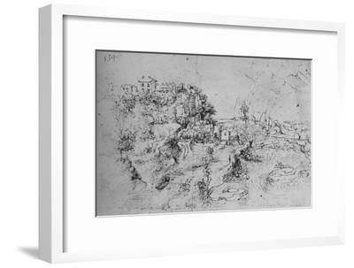 'A River with a Canal Alongside and a Castle on a Hill', c1480 (1945)-Leonardo da Vinci-Framed Giclee Print