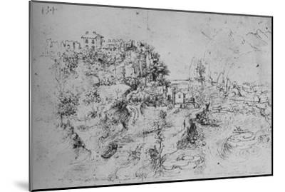 'A River with a Canal Alongside and a Castle on a Hill', c1480 (1945)-Leonardo da Vinci-Mounted Giclee Print
