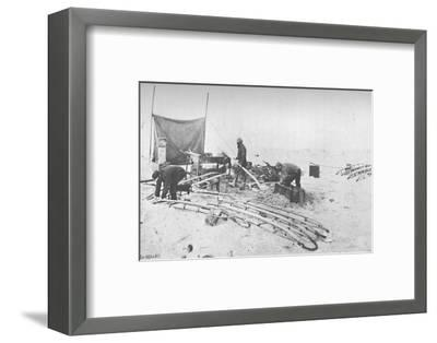 'Fitting the Hand-Sledges with Runners. July, 1895', (1897)-Unknown-Framed Photographic Print