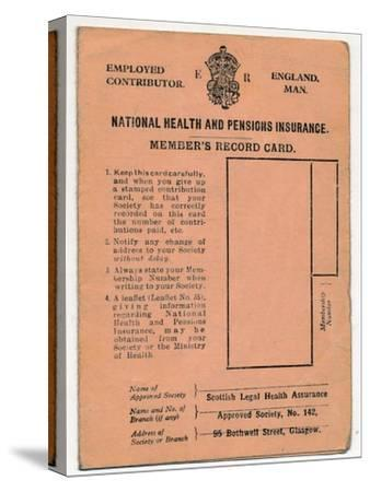 'National Health and Pensions Insurance Card: Member's Record Card', c1930s-Unknown-Stretched Canvas Print