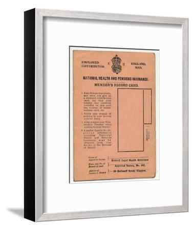 'National Health and Pensions Insurance Card: Member's Record Card', c1930s-Unknown-Framed Giclee Print