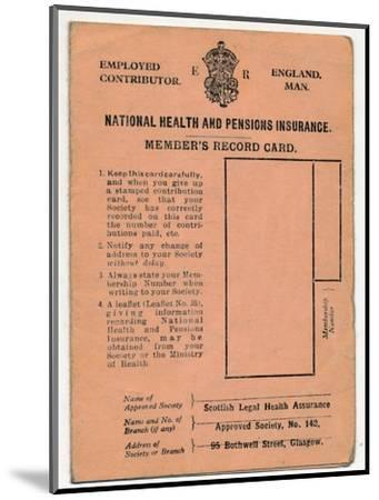 'National Health and Pensions Insurance Card: Member's Record Card', c1930s-Unknown-Mounted Giclee Print