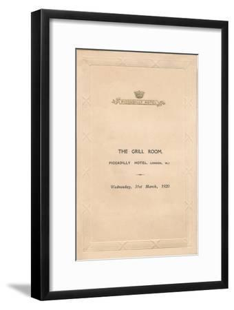 A menu for The Grill Room of the Piccadilly Hotel, London, 1920-Unknown-Framed Giclee Print