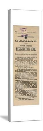 'Motor Vehicle Registration Book', 1949-Unknown-Stretched Canvas Print